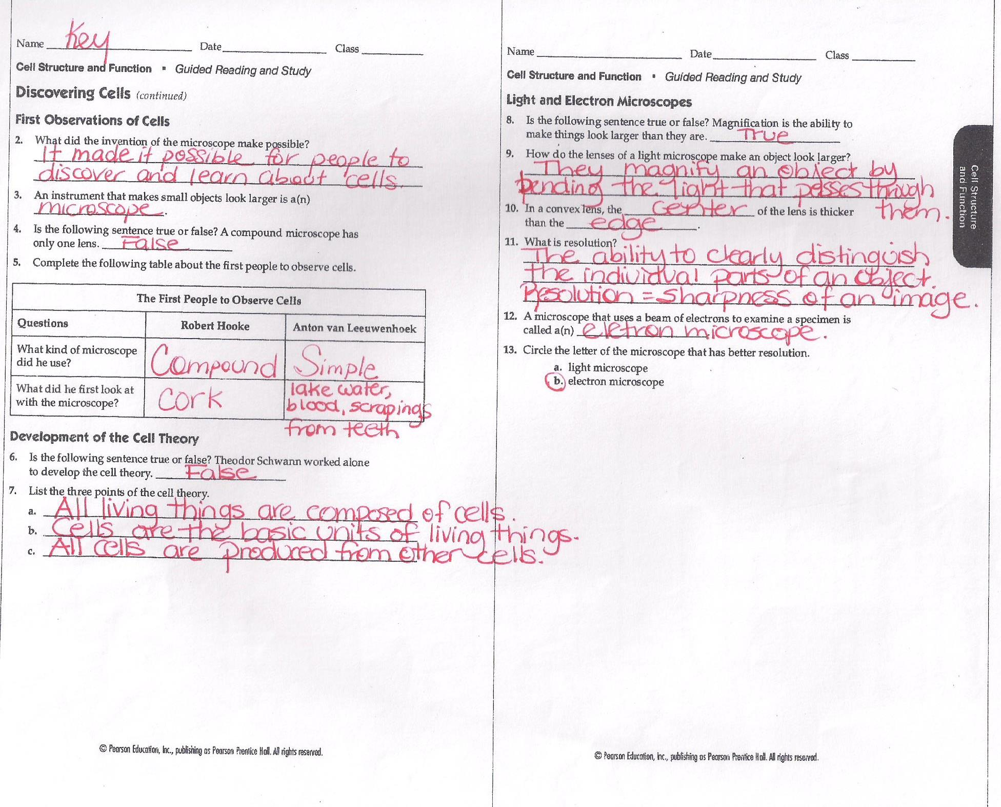 Cell structure and function worksheet answers key