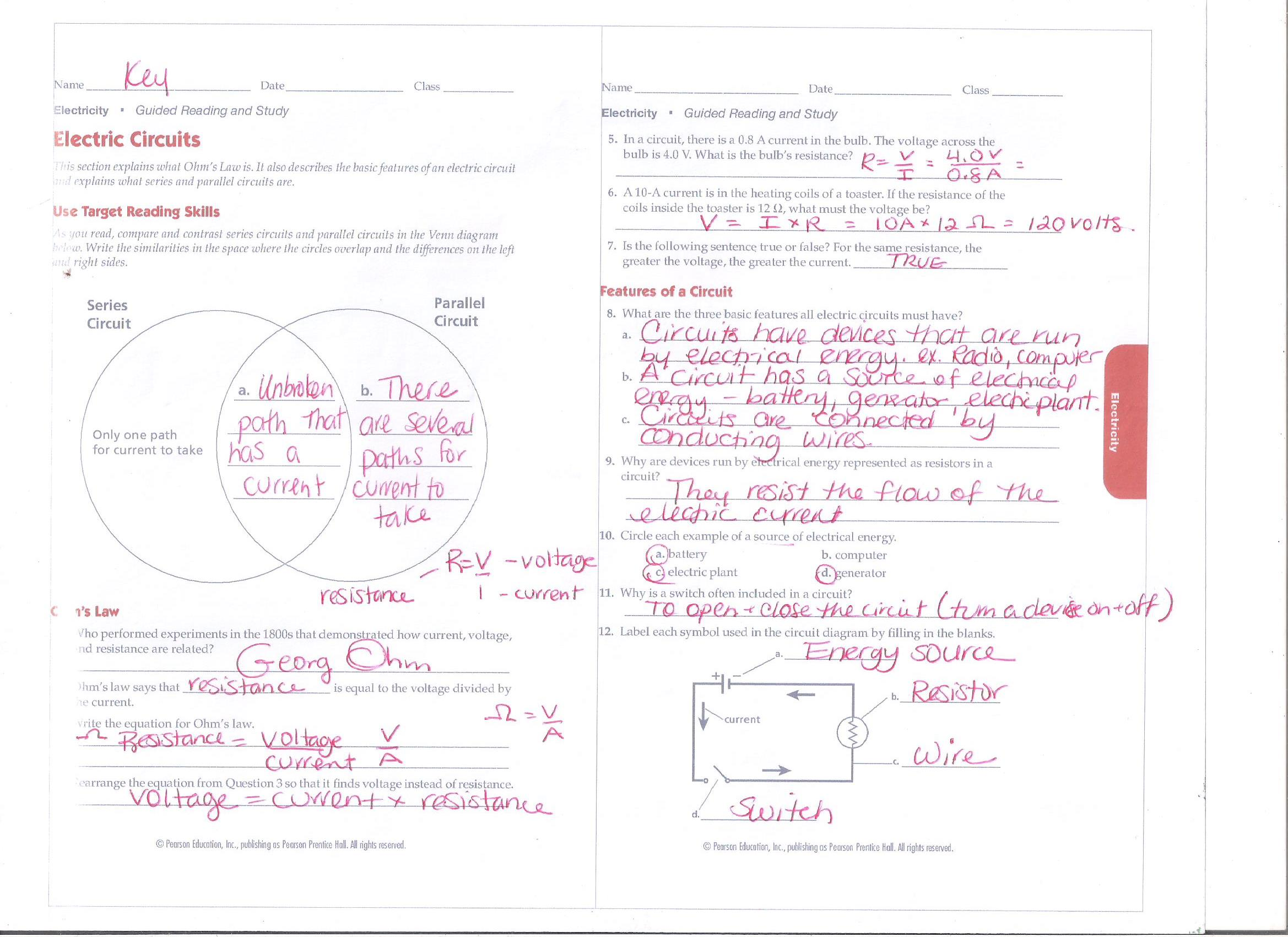 Physics Ms Pati At Green Oaks Electriccircuit2jpg Guided Reading Electricity Electric Circuits Answer Key 1